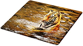 Lunarable Animal Cutting Board, Wild Life Safari Big Cat Tiger with Stripes in a Lake Swimming Nature Print, Decorative Tempered Glass Cutting and Serving Board, Large Size, Charcoal Orange