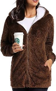 Caissip Fleece Coat for Women,Women`s Oversized Zip Up Hooded Jacket Winter Plus Size Sherpa Coat