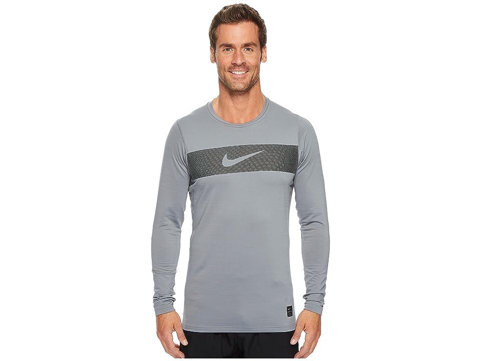Nike Pro Warm Long Sleeve Training Top (Cool Grey/Hyper Crimson/Black) Men