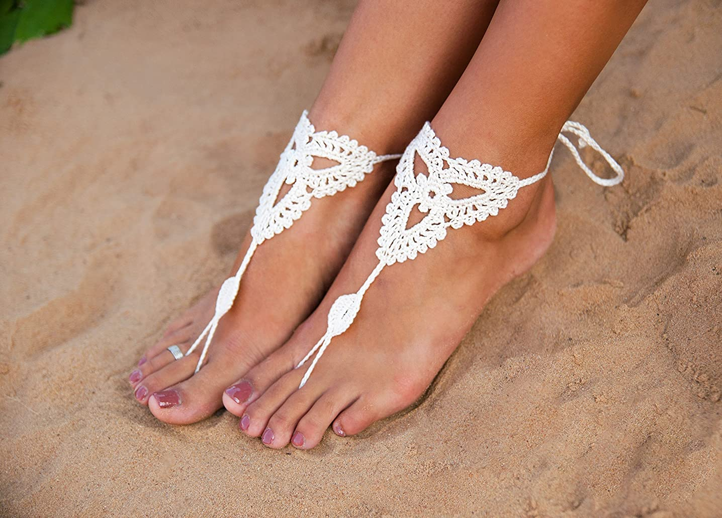 White barefoot sandals Beach wedding Crochet Barefoot Sandals, Nude shoes, Foot jewelry, Bridal barefoot sandal, Bridal lace shoes, Wedding accessory for Bridesmaids