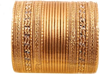 Colorful 2 Dozen Bangle Collection Indian Bollywood Alloy Metal Textured Designer Jewelry Special Large Size Bangle Bracelets Set of 24 in Gold Tone for Women