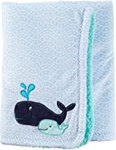 Carter's Baby Boys' One Size Velboa Plush Blanket, Blue Whale