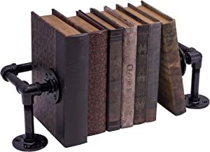 PIPE DÉCOR Black Cast Iron Pipe Bookends, Rustic and Industrial Metal Book Ends for Home or Office Shelves, Unique Decorative Book Holders/Shelf Dividers in a Black Electroplated Finish