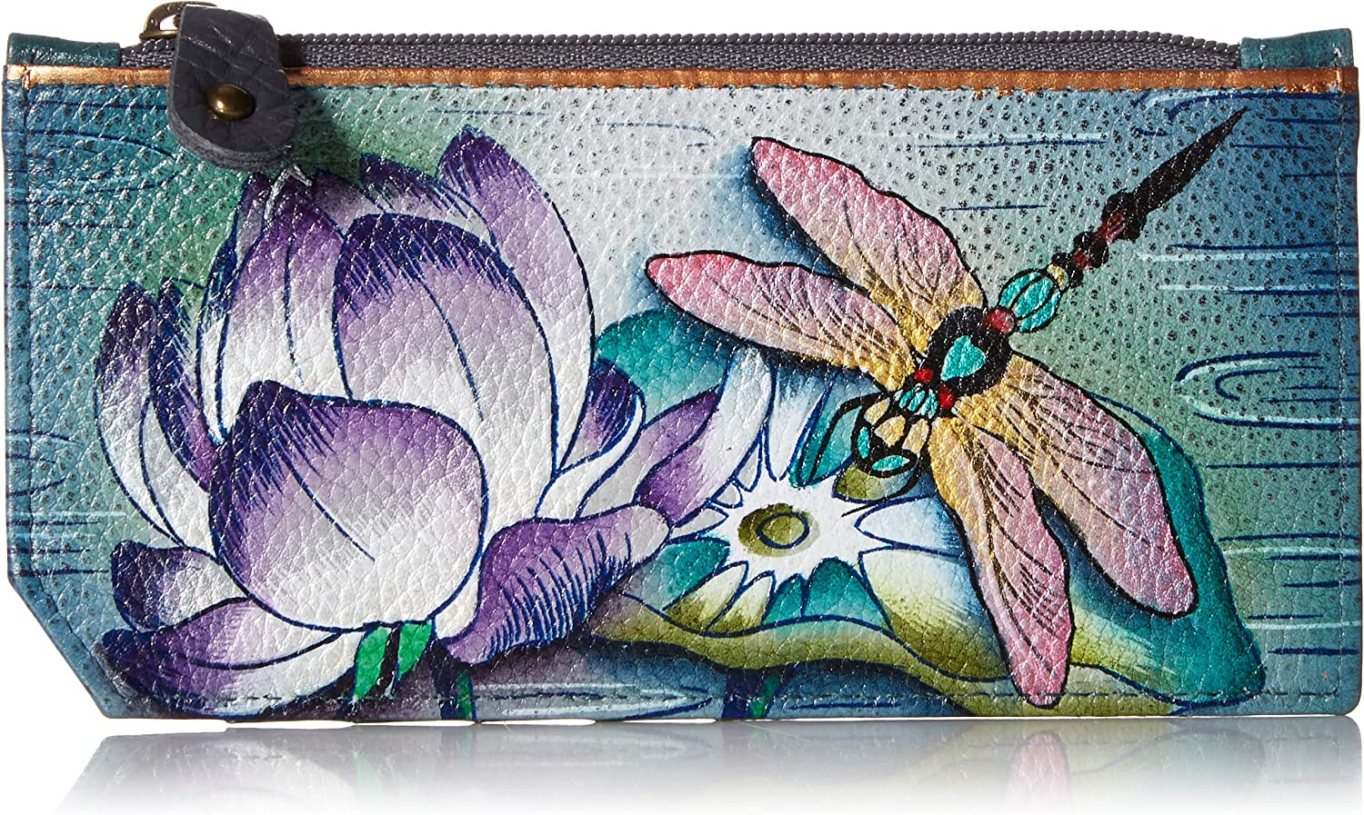Anuschka Women's Hand Painted Rfid Blocking Card Case with Pouch Tranquil Pond Coin Purse