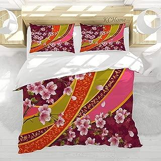LAMANNT Flower Decor Duvet Cover Set Oriental Backdrop Sakura Blossom Japanese Cherry Tree Print Decorative 3 PCS Bedding Set with 2 Pillowcases Maroon Pale Pink Green and Orange Twin/Twin XL