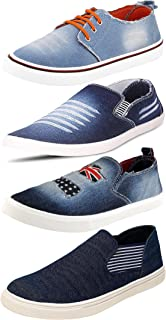 Ethics Perfect Combo Pack of 4 Denim Sneaker Shoes for Men