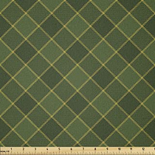 Lunarable Green Fabric by The Yard, Traditional Old Fashioned Argyle Pattern Retro Style Plaid, Stretch Knit Fabric for Cl...