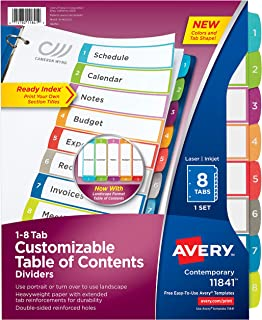 Avery 8-Tab Dividers for a 3 Ring Binders, Customizable Table of Contents, Multicolor Tabs, 1 Set (11841)