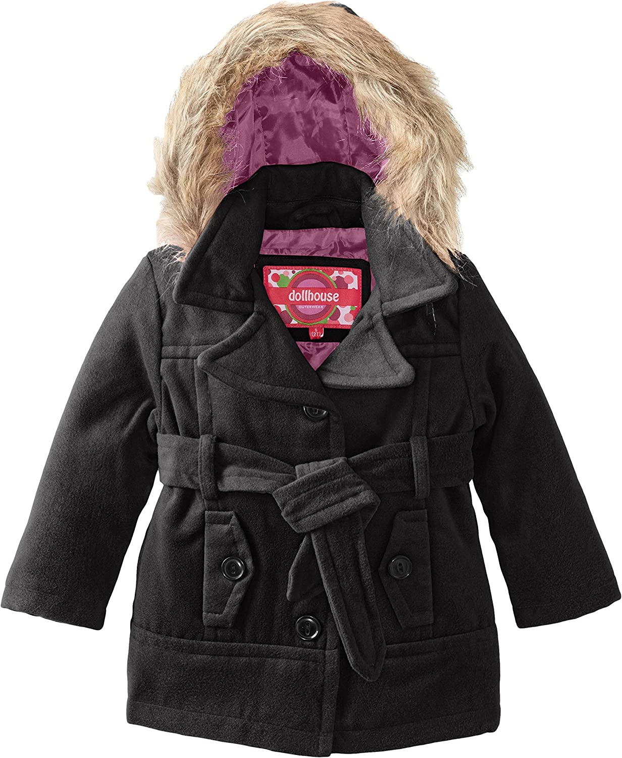 Dollhouse Little Girls' Belted Coat with Faux Fur Hood
