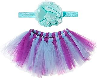 أزياء Vemonllas أزياء يدوية الصنع للأطفال حديثي الولادة مع فستان زهرة للرأس