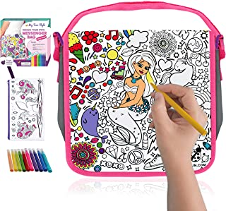 Decorate Your Own Messenger Bag For Girls! Color Your Own Bag for Kids with Vibrant Markers Plus a Bonus Pencil Case! Fun DIY Coloring Arts and Crafts Set, Great for School & Travel, Unique Girl Gifts