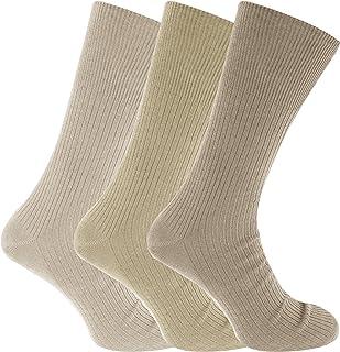 Calcetines para diabeticos sin elástico Modelo Big Foot hombre caballero (3 pares) (45-49 EU) (Tonalidades de beige)