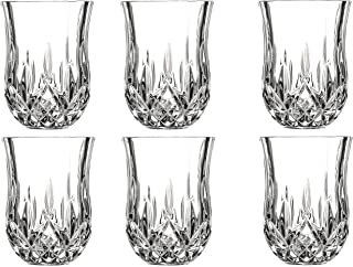 Le'raze Posh Crystal Collection Shot Glass Perfect for Serving Scotch, Whiskey, Tequila, or Vodka (Set of 6-2 Oz Drink Shot Tumblers/Cups/Glencairn)