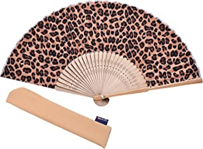 Hand Fan Bamboo Leopard Printed Folding Fan Cotton For Party Wedding Gift with Fan Cover