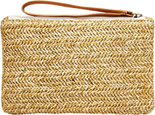Hycurey Straw Zipper Clutch Bag Bohemian Wristlet Womens Summer Beach Sea Purse and Handbag