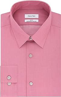 Men's Slim Fit Non-Iron Herringbone Point Collar Dress Shirt