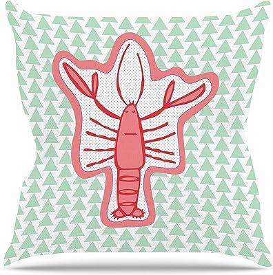 Kess InHouse Pattern Muse Fruit Birds Pink Magenta Throw Pillow 16 by 16