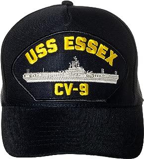 United States Navy USS Essex CV-9 Aircraft Carrier Ship Emblem Patch Hat Navy Blue Baseball Cap