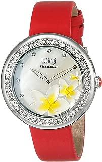 Burgi Women's Bur116Rd Diamond-Accented Watch With Satin Band, Analog Display