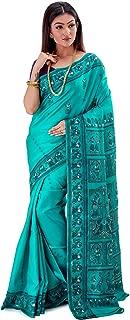 SareesofBengal Women's Katan Silk Meenakari Baluchari/Swarnachari Saree Sea Green
