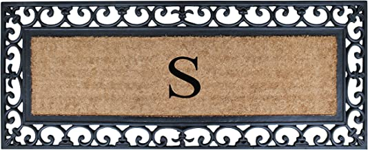 First Impression Exclusive Hand Crafted Myla Monogrammed Entry Doormat, Large Double Door Size (17.7 x 47.25)-RC2004S