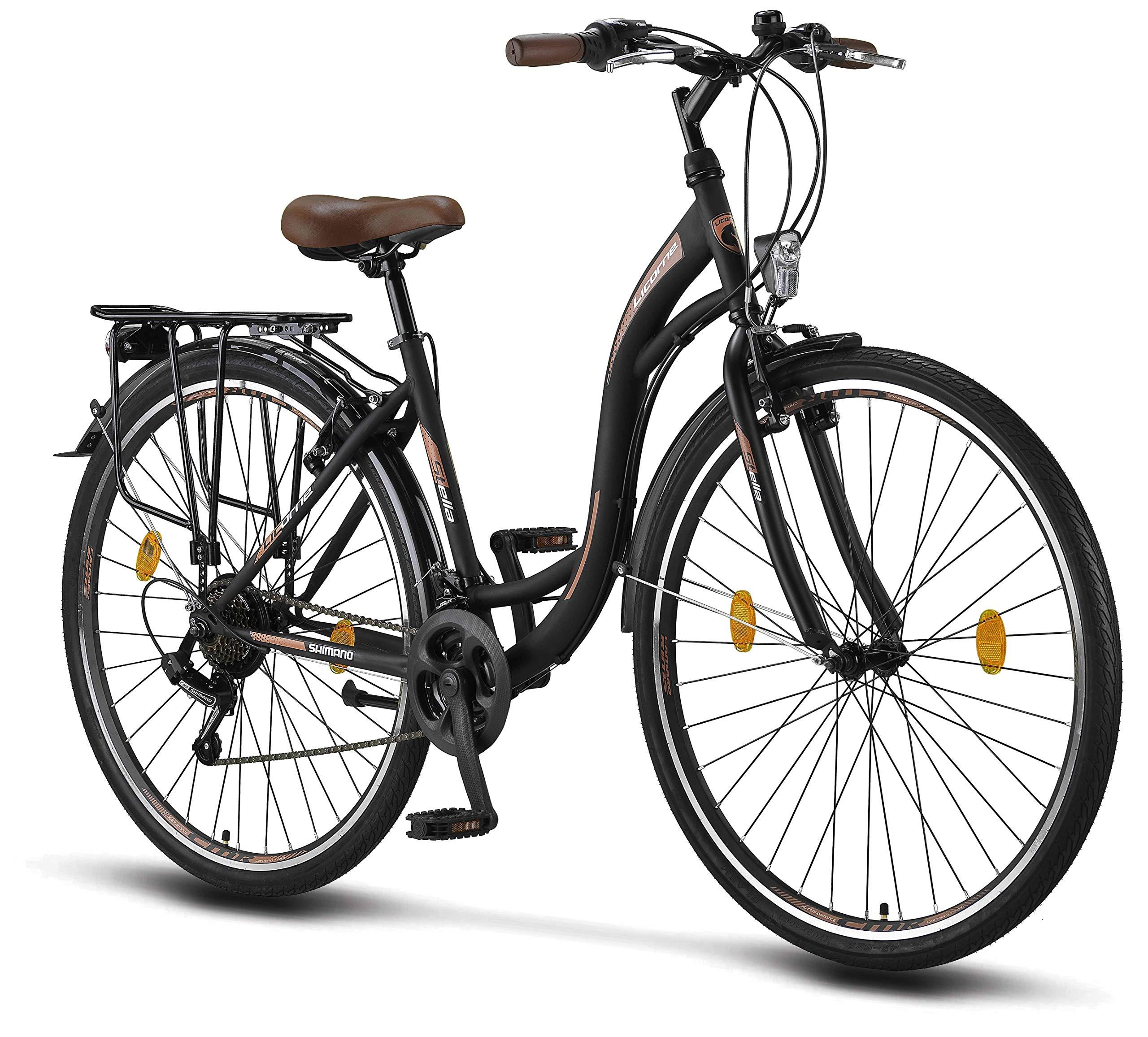 Licorne Bike Stella de 28 Pulgadas, Bicicleta Paseo, Bicicleta para Mujer, Desde 160 cm, luz de Bicicleta, Cambio de Velocidad Shimano 21, Bicicleta Urbana para Mujer, Bicicleta para Mujer: Amazon.es: Deportes y