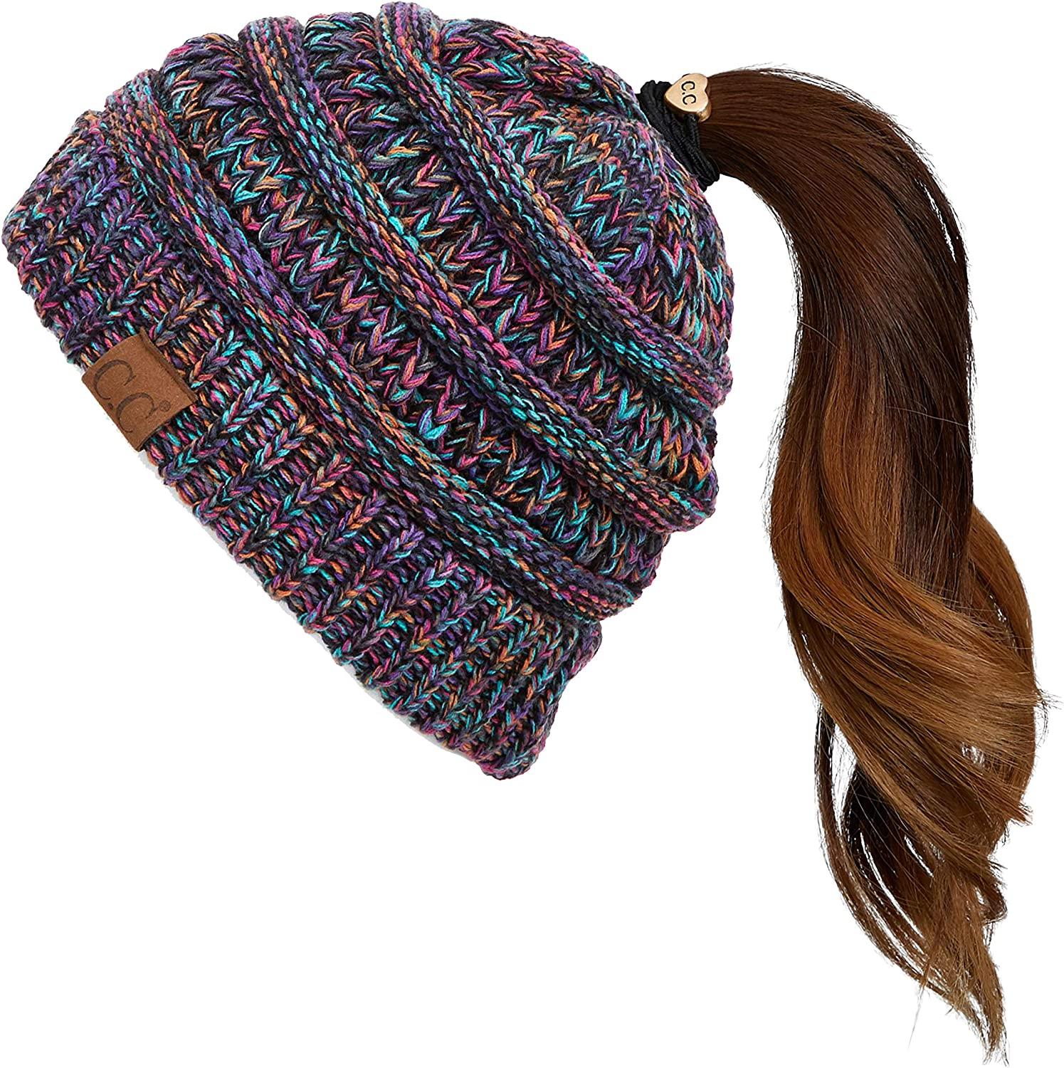 C.C Exclusives Soft Stretch Cable Knit Messy Bun Ponytail Beanie