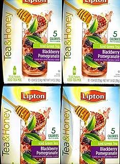 Lipton To Go Stix Iced Green Tea Mix Tea and Honey Blackberry Pomegranate 10 - Pack of 4