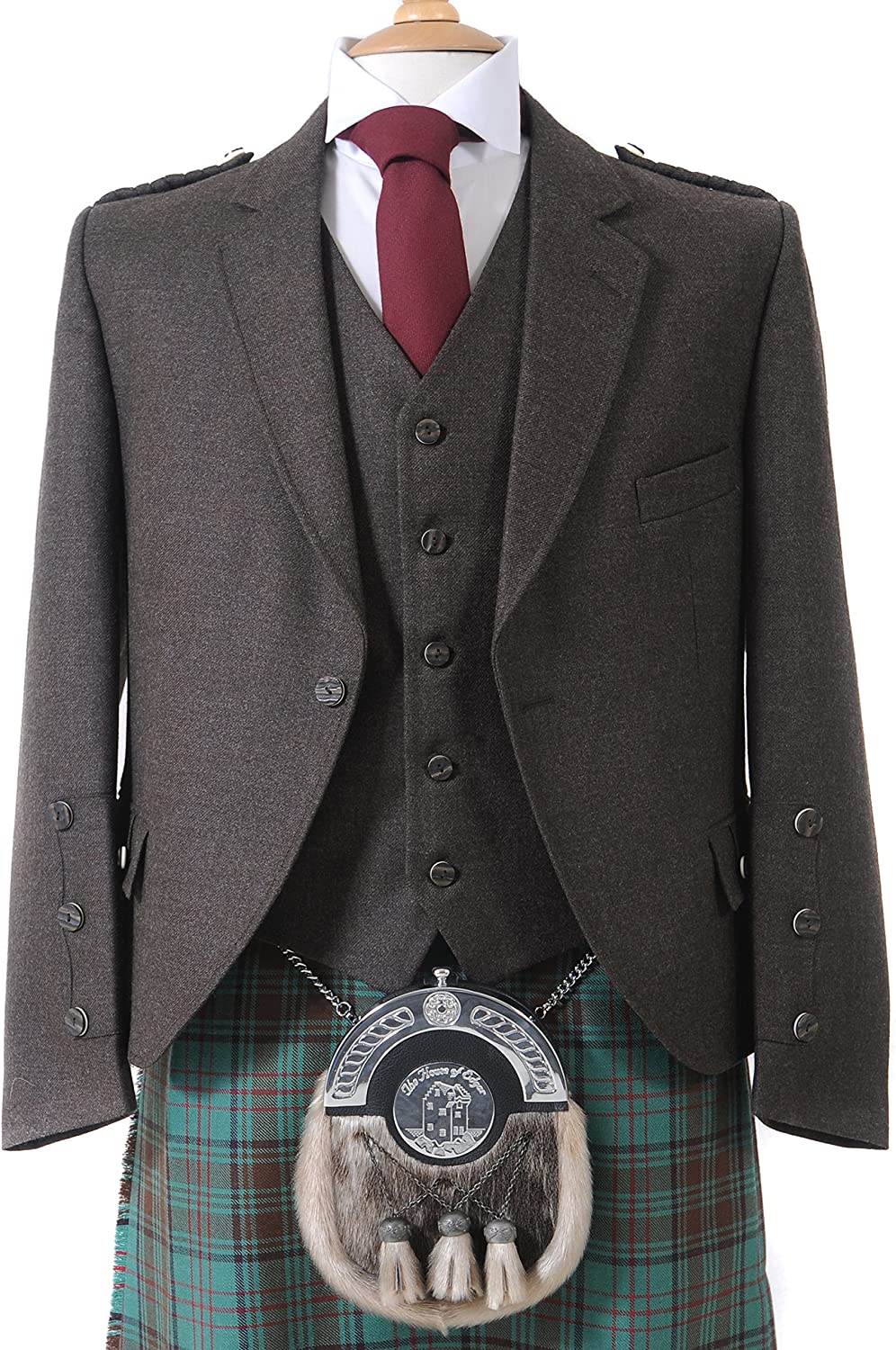 Crail Highland Jacket and Five Button Waistcoat in Peat Brown Arrochar Tweed - Long Fit