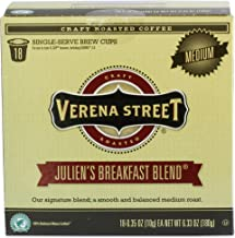 Verena Street Single Cup Pods (18 Count) Medium Roast Coffee, Julien's Breakfast Blend, Rainforest Alliance Certified Arabica Coffee, Compatible with Keurig K-cup Brewers