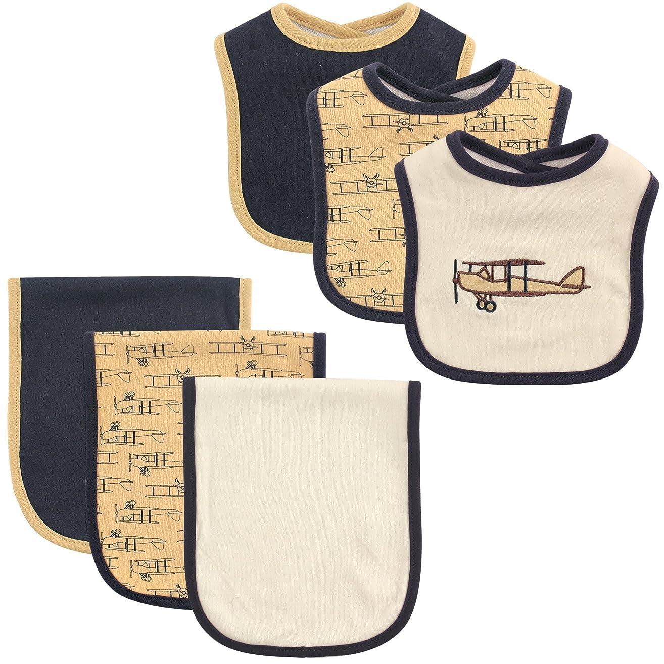 Hudson Baby 6-Piece Bib and Burp Cloth Set, Airplane