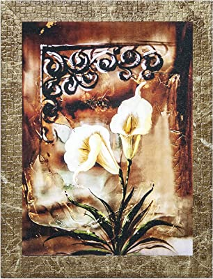 Indianara Set of 3 Lily Flowers Framed Art Painting (1119 MBR) without glass 6 X 13, 10.2 X 13, 6 X 13 INCH