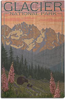 Glacier National Park, Montana - Bear and Cubs with Flowers (12x18 Wood Wall Sign, Wall Decor Ready to Hang)