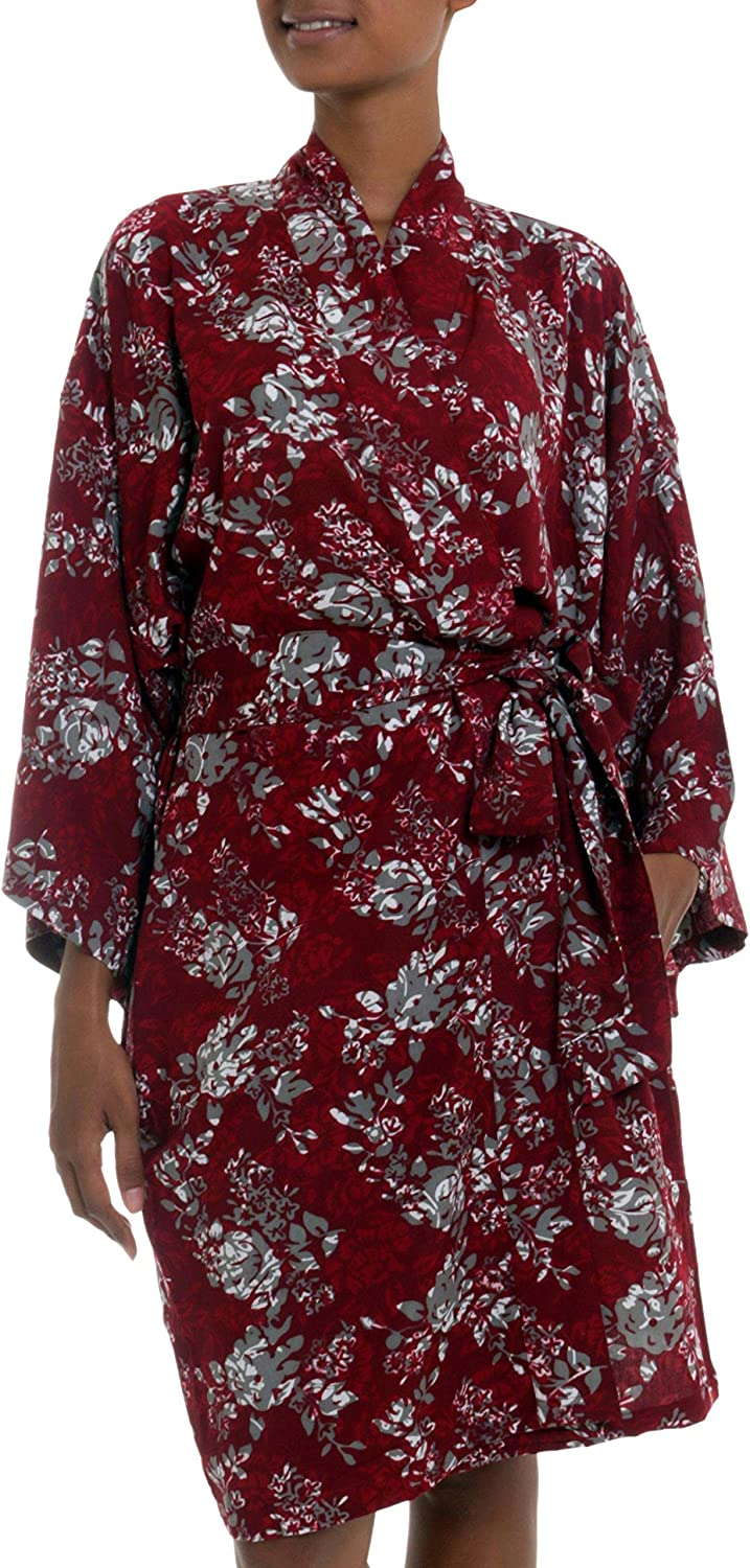 NOVICA Red Batik Rayon Robe Claret' In We OFFer at cheap prices 'Gorgeous Many popular brands