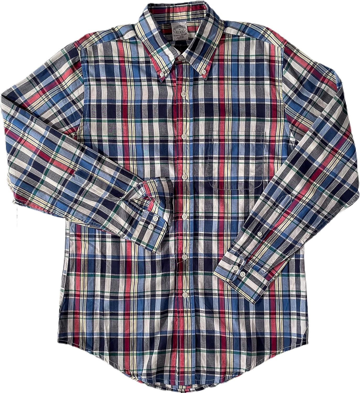 BROOK BROTHERS Men's Navy Multi Plaid Lightweight L/S Button Down Shirt Medium