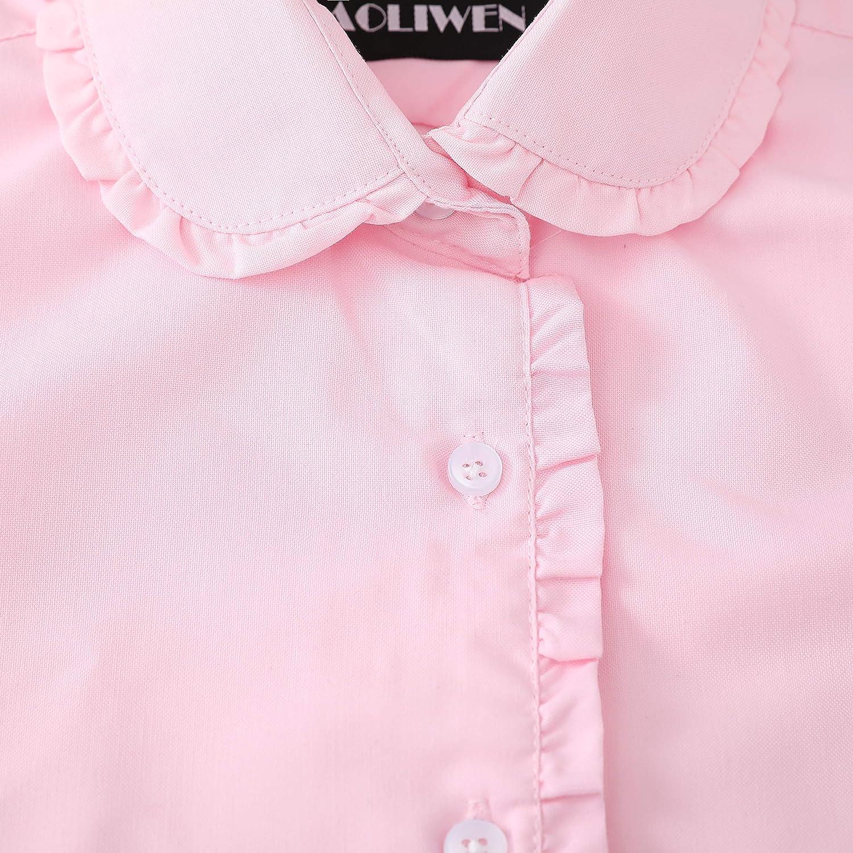 AOLIWEN Girl/'s Short Sleeve Ruffle Shirts School Uniform Blouse Slim fit Shirts 4-15 Years
