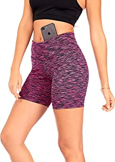 DEAR SPARKLE Shorts with Hidden Pocket for Women 5-inch Yoga Leggings Workout Athletic Pants + High Waisted Short (S14)