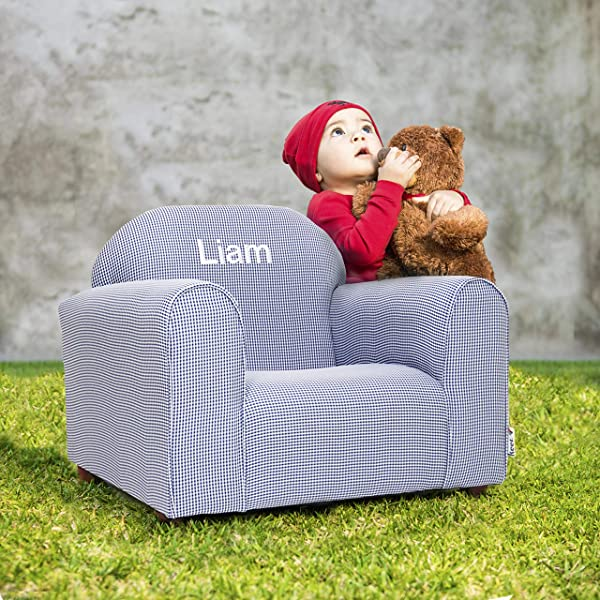 Upholstered Personalized Kids Chair Checkers Navy