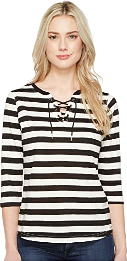 Stripe Jacquard 3/4 Sleeve Top