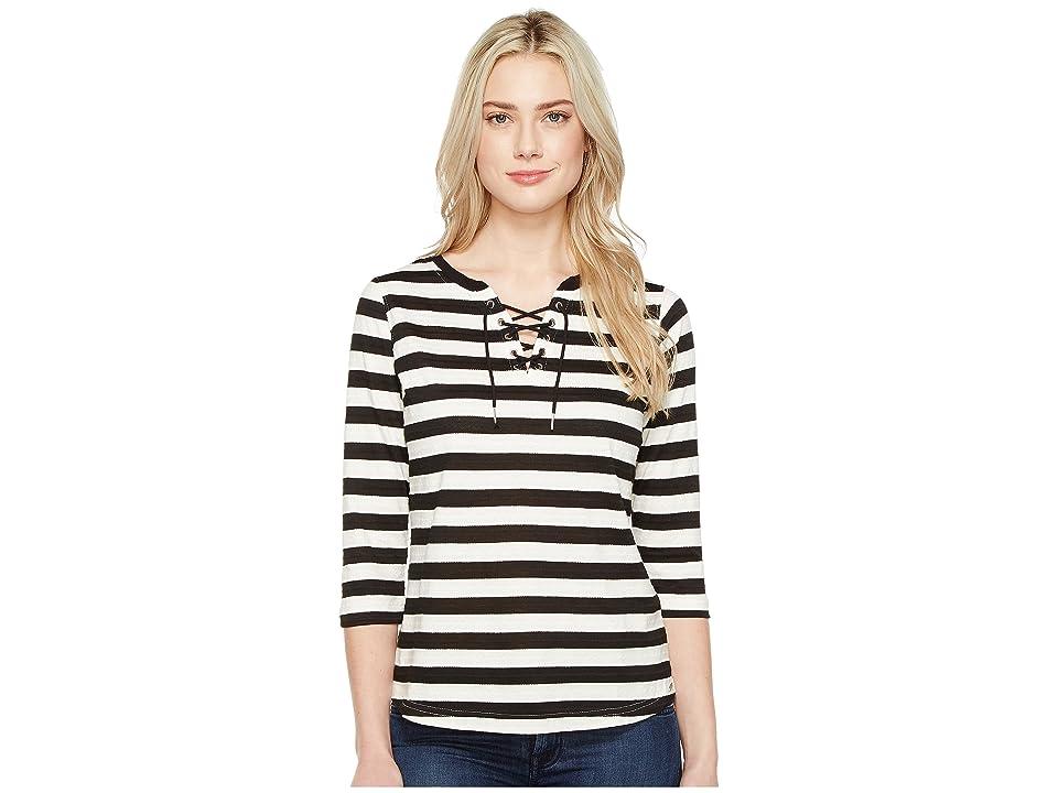 FDJ French Dressing Jeans Stripe Jacquard 3/4 Sleeve Top (Black/White) Women's Long Sleeve Pullover