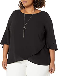 AGB Women's Plus Size 3/4 Ruffle Sleeve Top