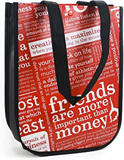 Red with Graphic Print Small Reusable Tote Carryall Gym Bag