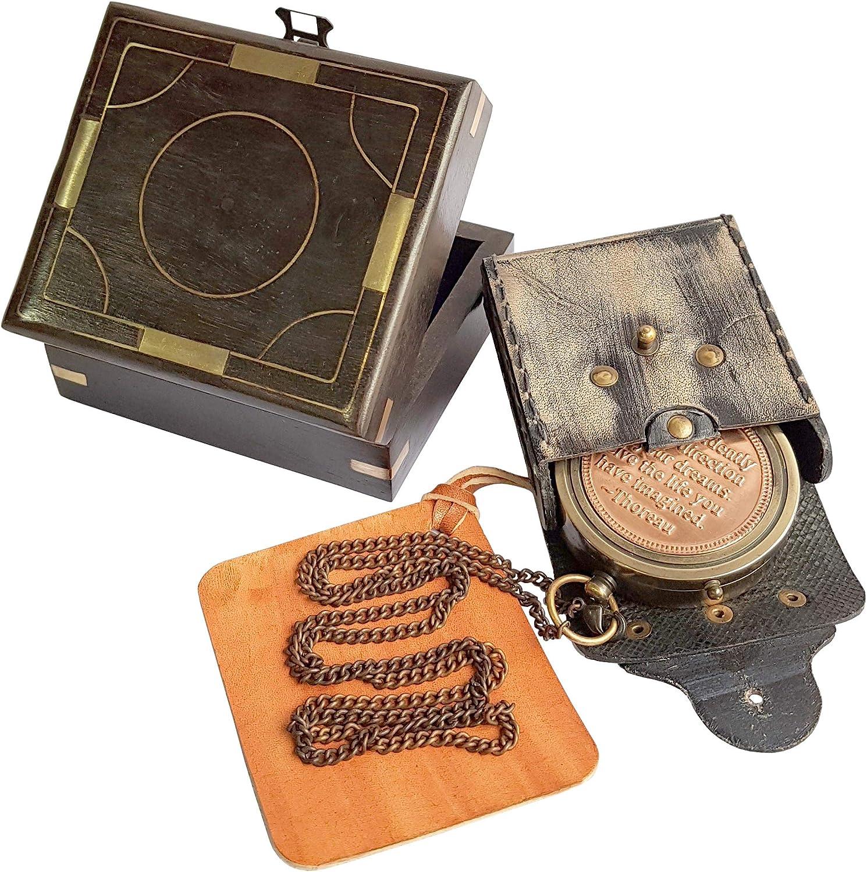 Brújula de latón náutico en caja de 1920 Dollodn London
