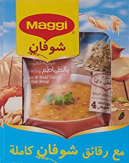 Maggi Tomato and Beef Flavor Oat Soup, Box of 12 Pieces (12 x 65g)