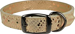"OmniPet Native Leather Python Print Pet Collar, 3/4"" x 20"", Rose Gold"