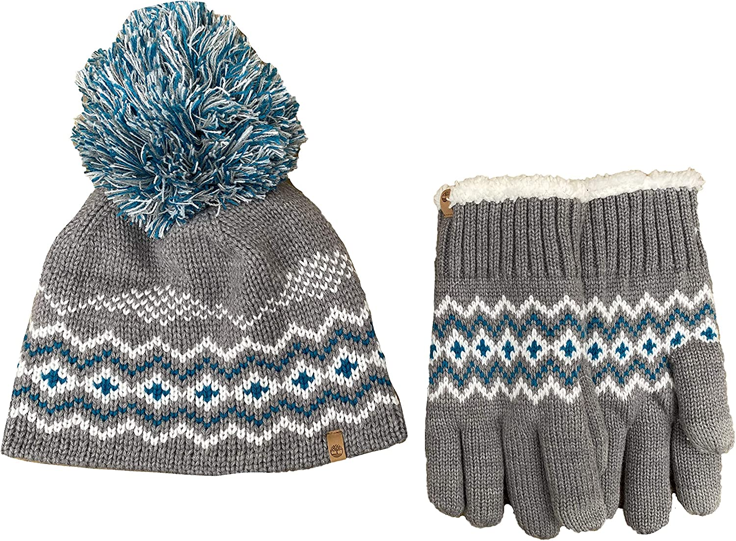Timberland Women`s Fair Isle Pom Pom Beanie and Gloves Boxed 2 Piece Set