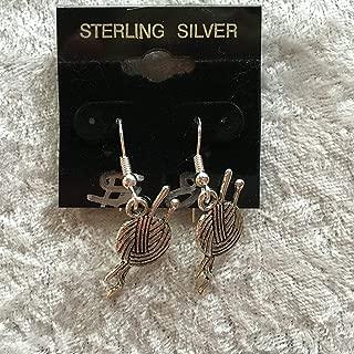 Silvertone Yarn Ball Charm Dangle Earrings with Sterling Silver Hooks