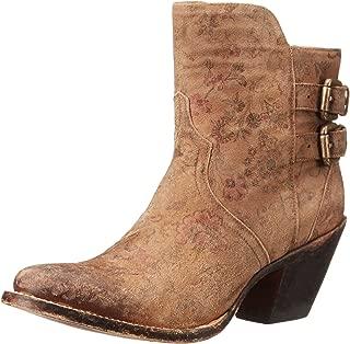 حذاء Lucchese Bootmaker نسائي قصير للكاحل مطبوع عليه زهور باللون البني