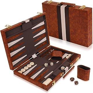 "Kangaroo's 14.75"" Faux Leather Vinyl Backgammon Set; Favorite Board Game; Best.."
