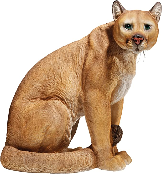 """Ebros Large Lifelike Mountain Lion Cougar Sitting in Repose Statue 20/"""" Height"""